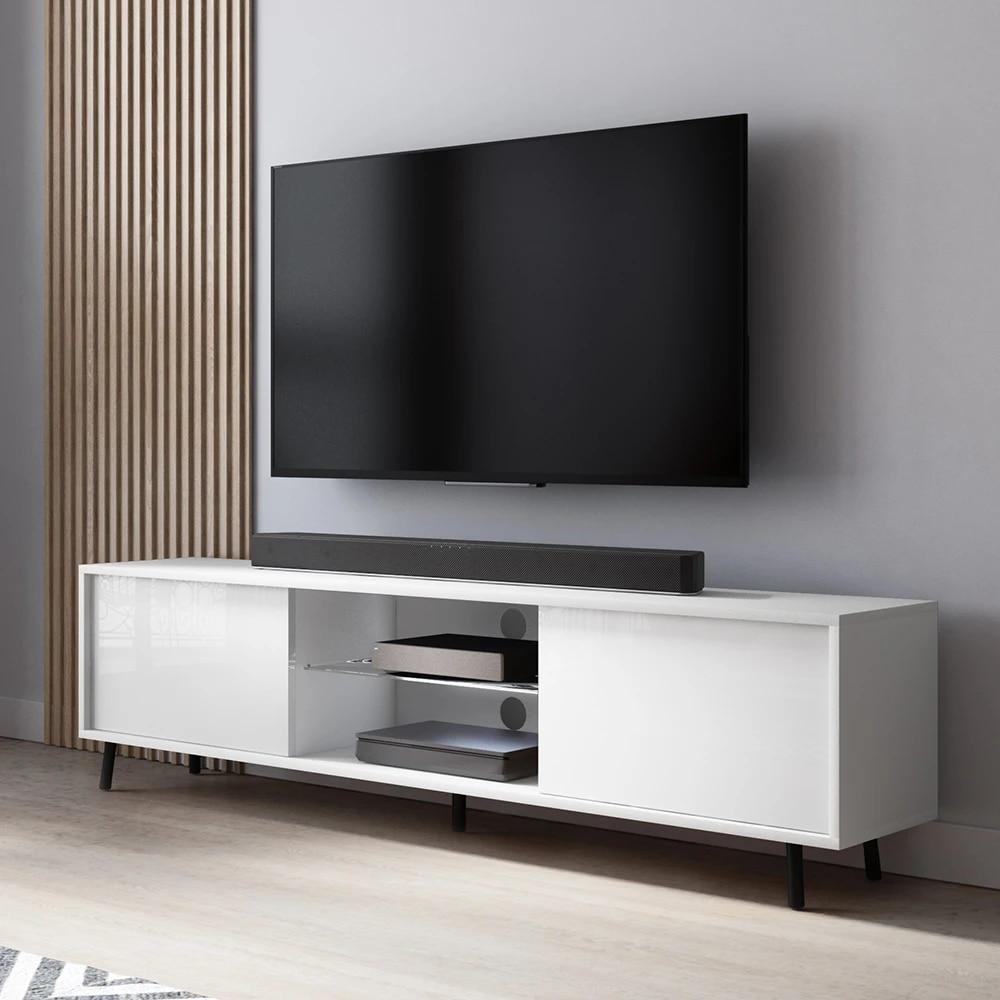 lefyr tv cabinet 140 cm white with led
