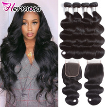 Hair-Extension Closure Hermosa Hair Brazilian Body-Wave with 4-Bundles