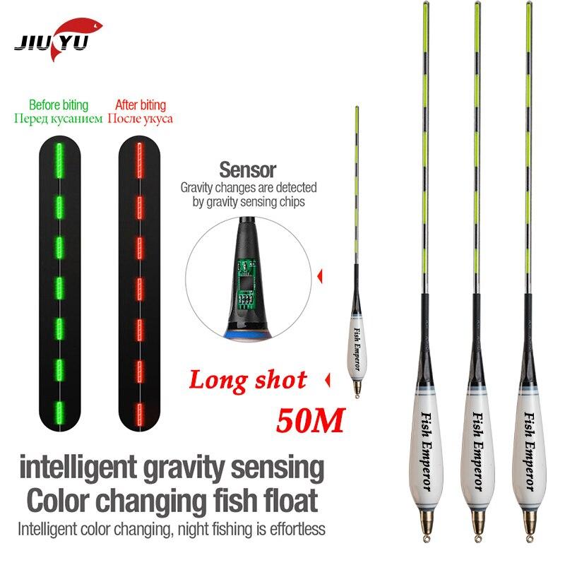 JiuYu New 4+2g Smart Led Fishing Float Gravity Sensor Fish Bite Remind Buoy Glowing Electric Night Fishing Float With Batteries