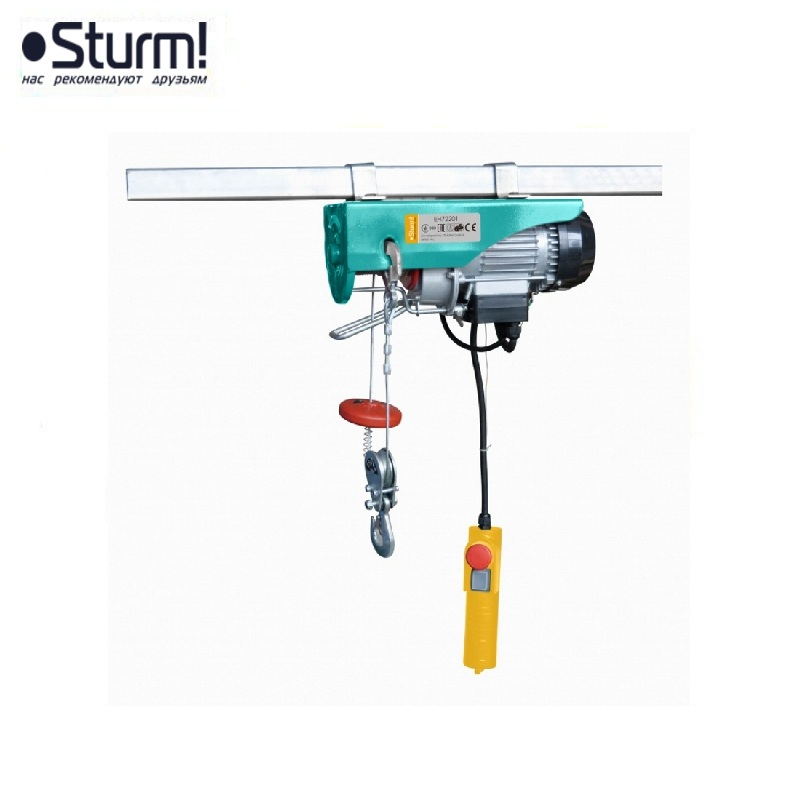 EH72201 Sturm hoist, 540 W, 125/250 kg, 12/6 m, damper, stretch and break protection Crane pulley Electric chain hoist Fixed цена
