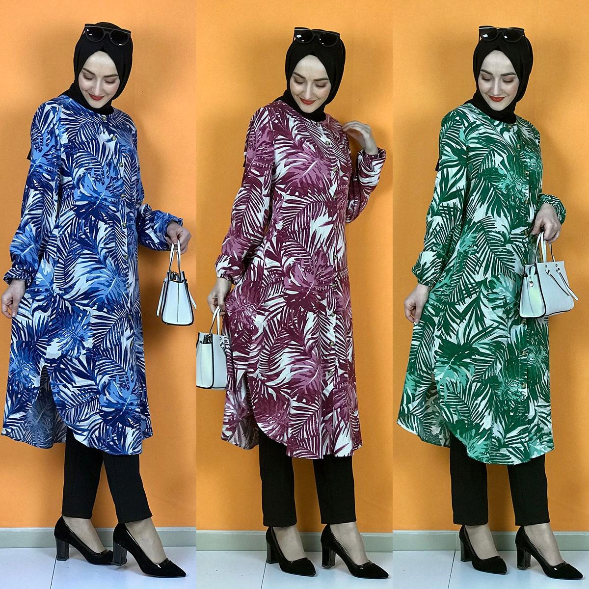 5XL 6XL Plus Size Women Shirt Tops Blouse Patterned Long Sleeve Tunic Muslim Fashion 2021 Spring Femme Top Casual Shirts Blusas