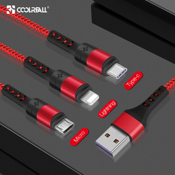 Coolreall 3 in 1 USB Cable for iPhone XR XS MAX X 8 7 6 Micro Charging Cable Charger usb Type c cable Mobile Phone Charger Cord