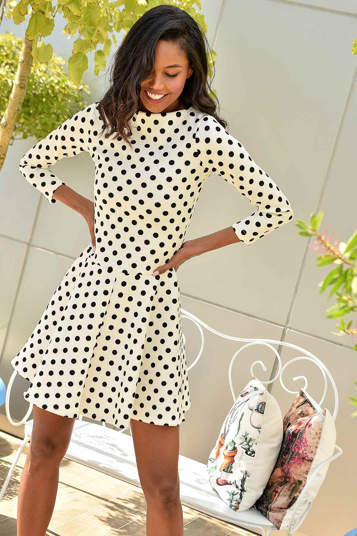 Trend: Alacati Style Female Ecru Boat Neckline Skirt Circular Zipper Polka Dot Dress DNZ-3008