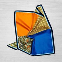 Silk pocket square with cucumber ornament in Blue (52373)