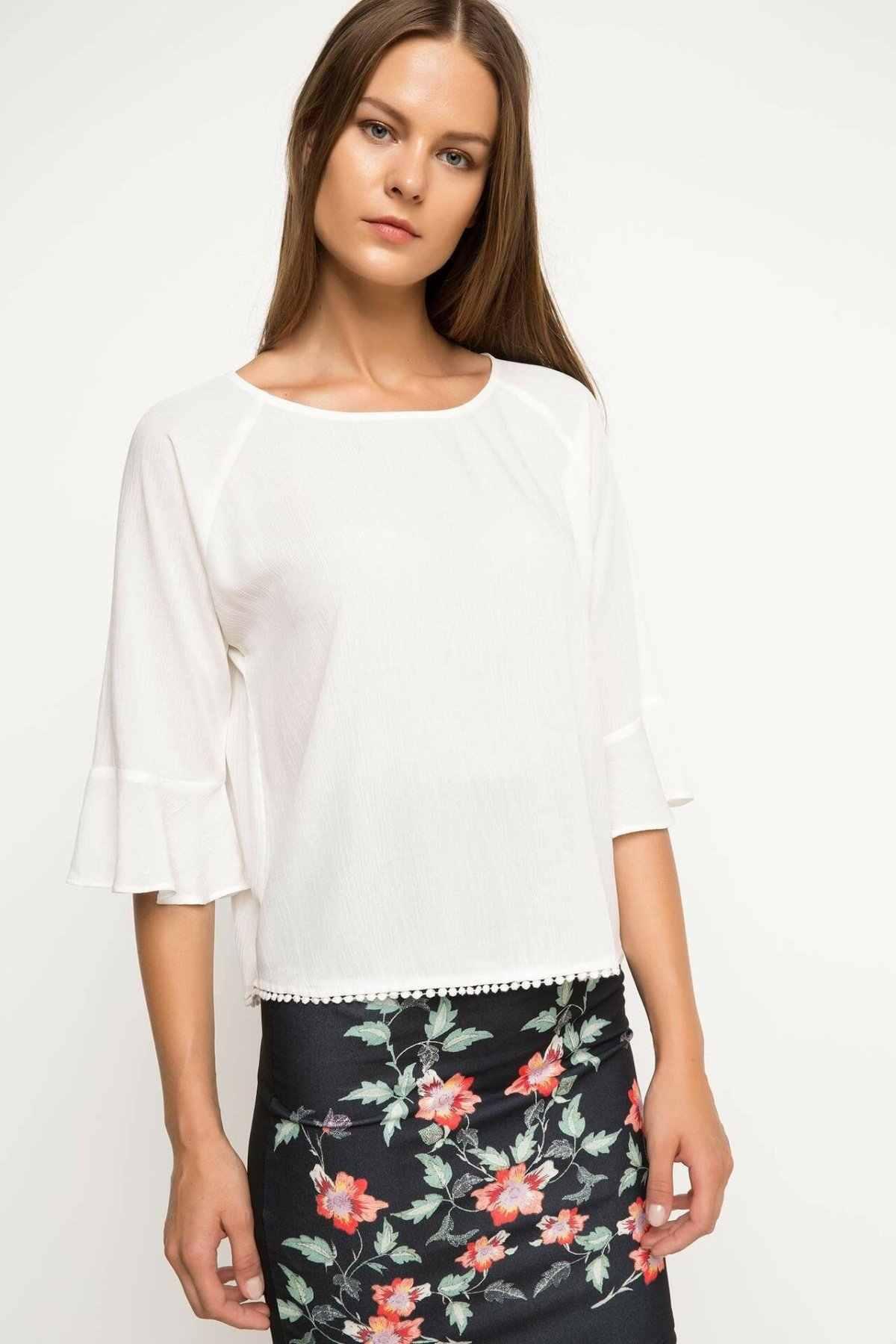 DeFacto kobieta moda Crewneck z długim rękawem bluzka kobiet elegancki Casual trwałe koszule jesień urocze topy nowy-G4232AZ17AU