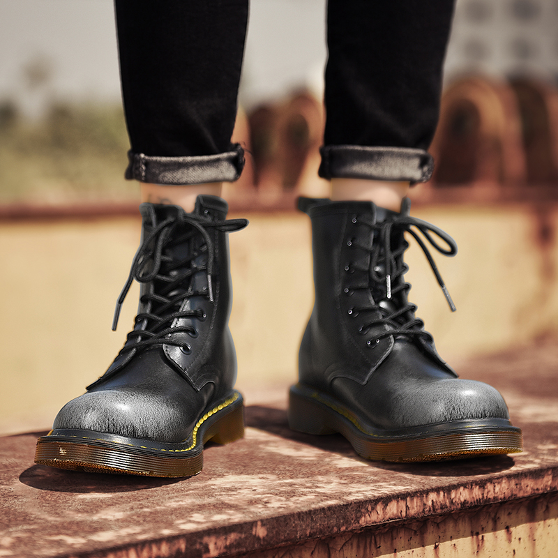 Haut à la mode décontracté hommes 2019 bottes en cuir d'hiver Botas Hombre bois bottines sécurité en plein air moto bottes taille 35-44