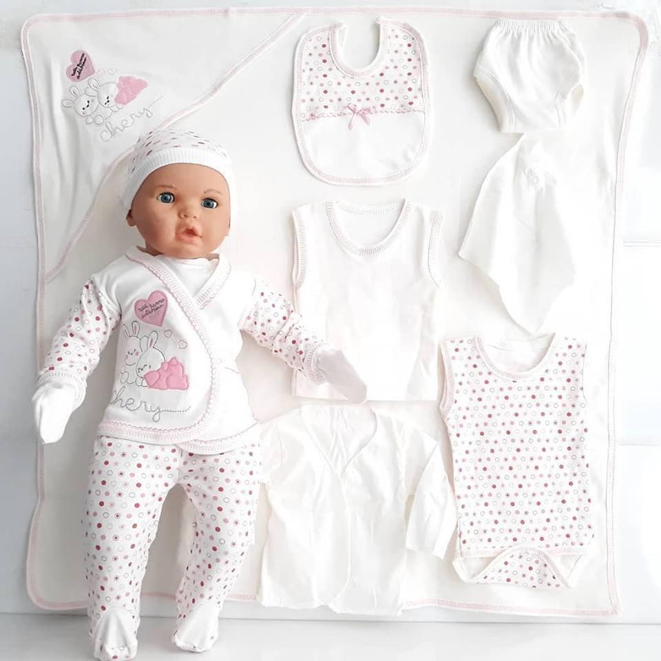 Chery Pink Heart Rabbit Polka Dot 11 Piece Newborn Hospital Output Set 0-3 Month