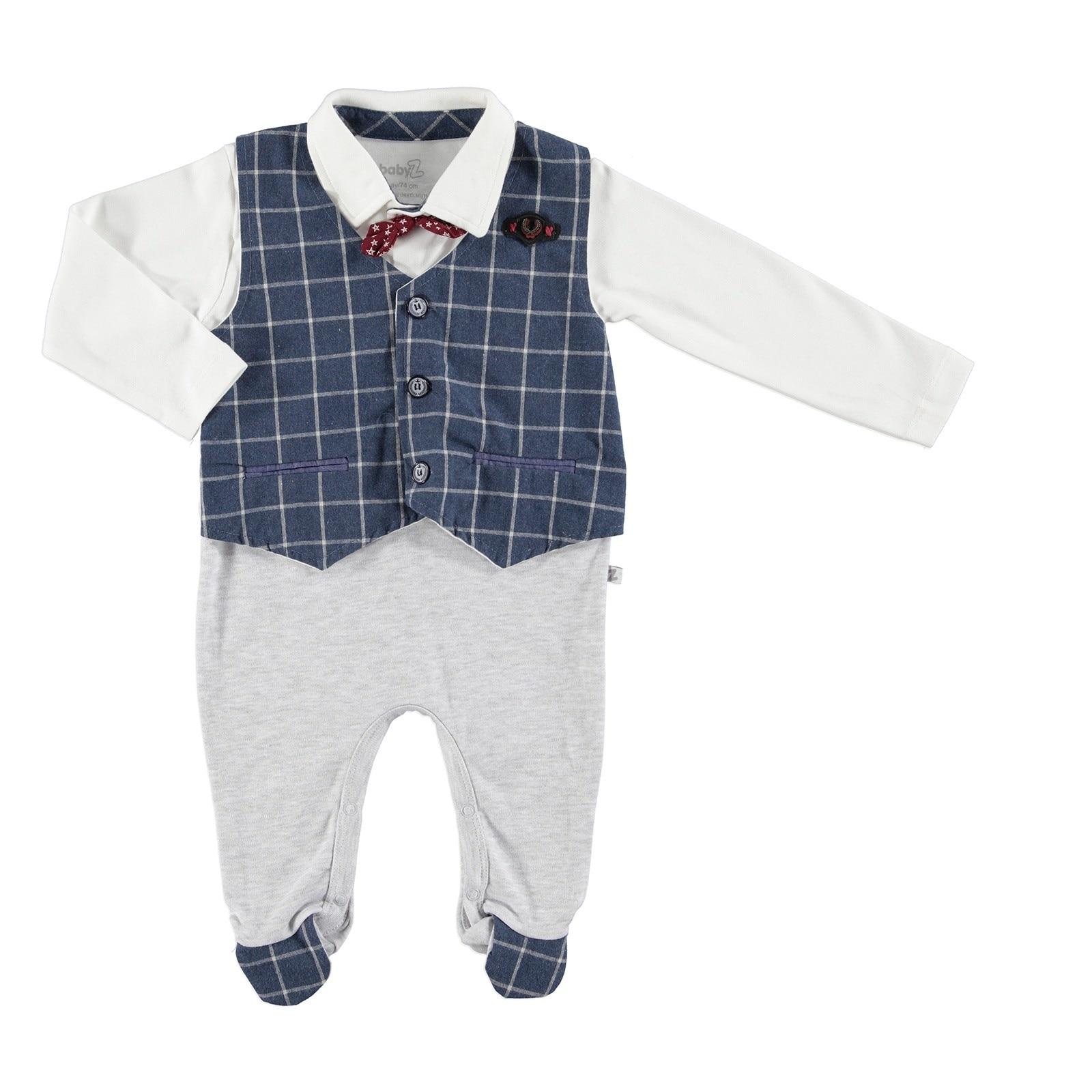 Ebebek BabyZ Baby Pocket Detail Bowtie Vest Footed Romper