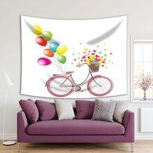 Bicicleta con globos cesta llena de flores y mariposas romántica Vintage dibujos animados rosa amarillo azul verde tapiz