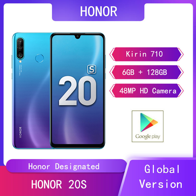 Original Huawei HONOR 20S 6GB+128GB Mobile Phones 6.15 Screen Kirin 710 Android 9 Front Rear HD Cams 4G Smartphone Ultra-thin