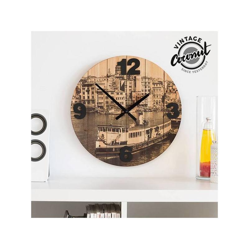 Wall Clock Cities Vintage Coconut