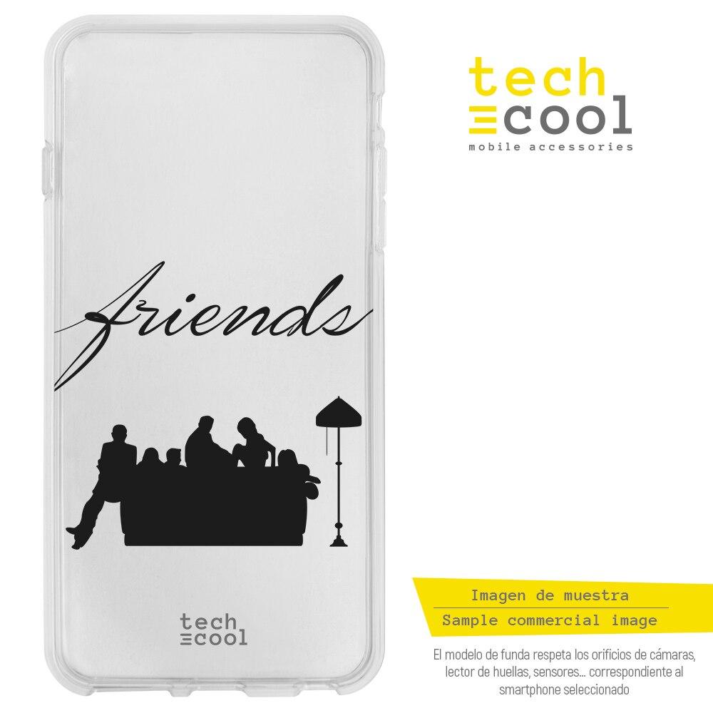 FunnyTech® Funda Silicona para Samsung Galaxy A40  l Serie Friends Silueta vers.1 Transparente