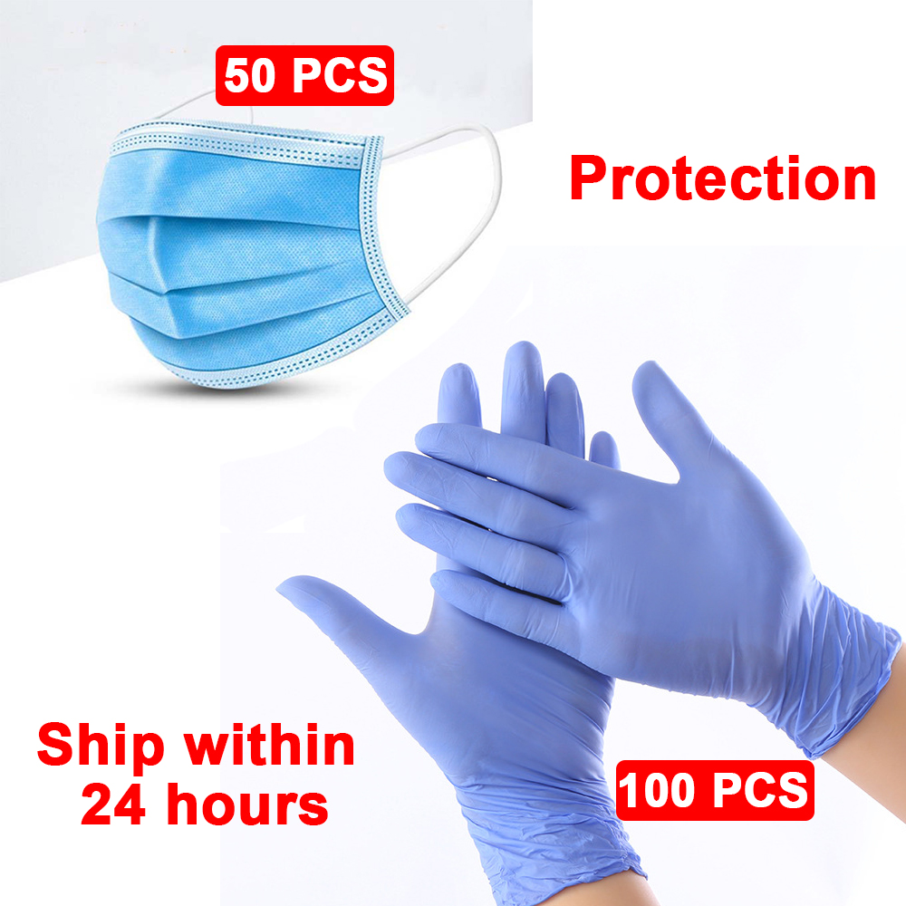 Nitrile Gloves 100PCS With Box Disposable Gloves Industrial Food Safety Protective Gloves And Protective Mask
