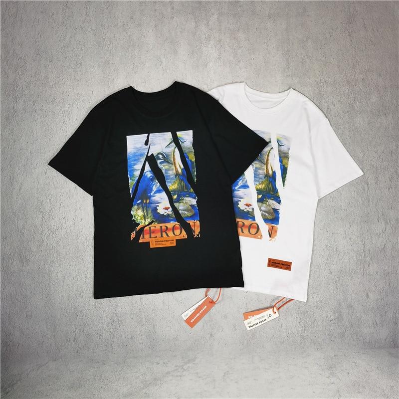 Heron Preston split crane short sleeve Unisex casual couple T-shirt 1