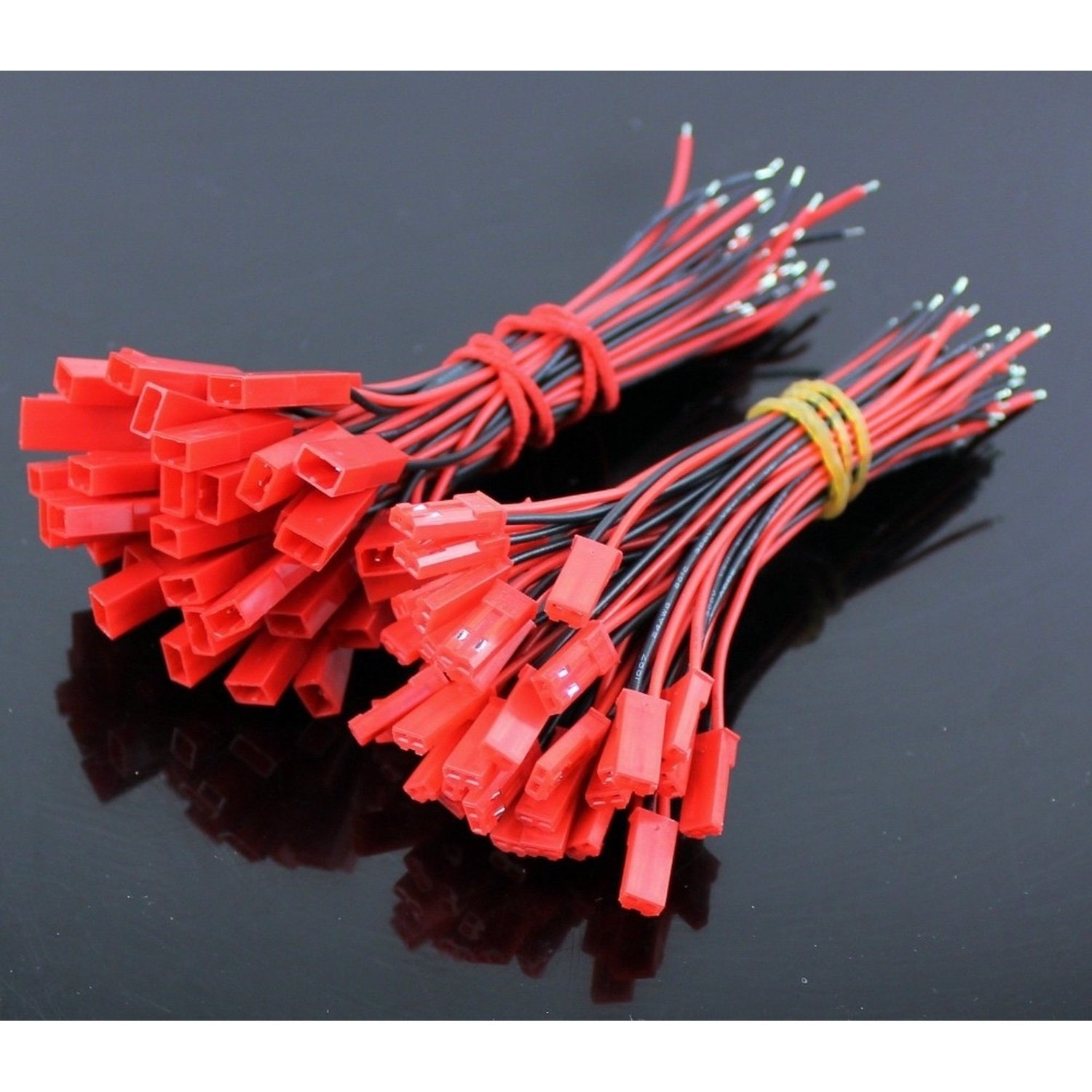 PACK 20 CONNECTORS JST WITH CORD (10 MALE + 10 FEMALE) micro parallel charging board w micro jst jst ph connectors for r c helicopter black red