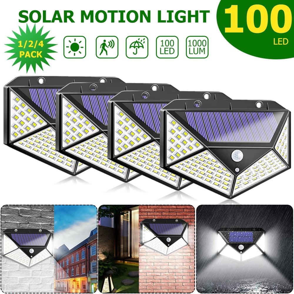100 LED Solar Light Outdoor Solar Lamp PIR Motion Sensor Wall Light Waterproof Solar Powered Sunlight for Garden 1/2/4pcs