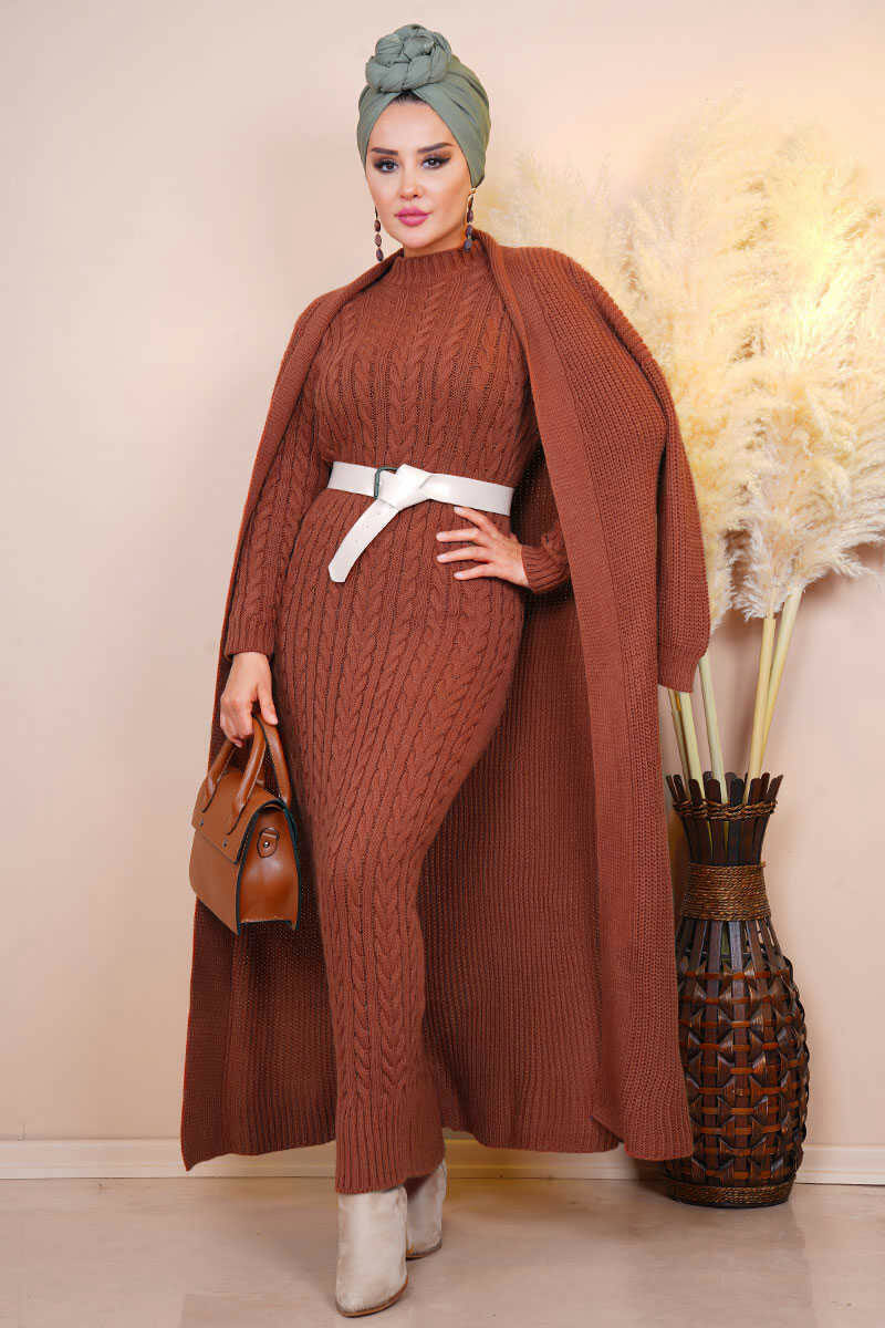 2 Pieces Woman Dress Knitted suit Women Women's Abaya Women's Clothings Women's Dresses