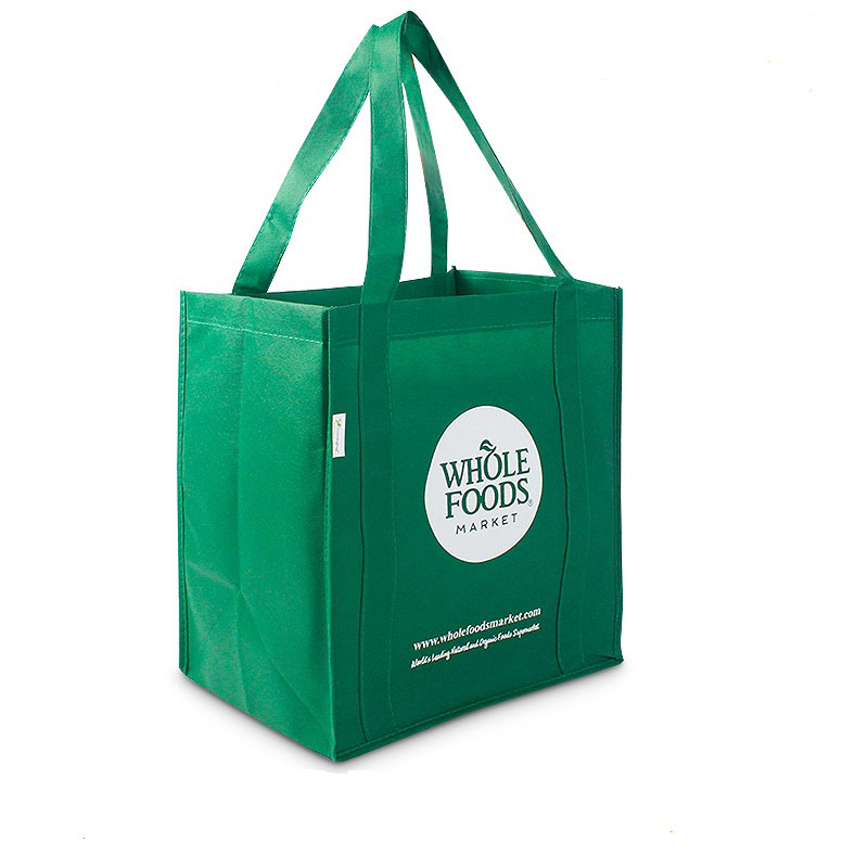 1000pcs/Lot Custom Green Promotional Recycled Non Woven Shopping Bag with Long Handle Reusable Tote Grocery Bag for Daily Use-in Shopping Bags from Luggage & Bags    1