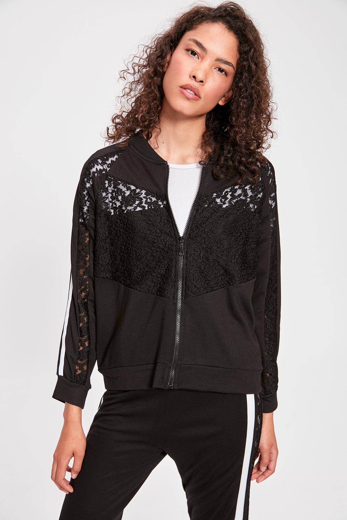 Trendyol Black Ruched Knitted Sweatshirt TWOAW20SW0180