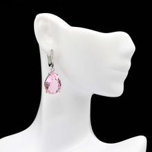Elegant Pink Tourmaline, CZ Wedding Engagement 925 Gold Silver Earrings 35x12mm