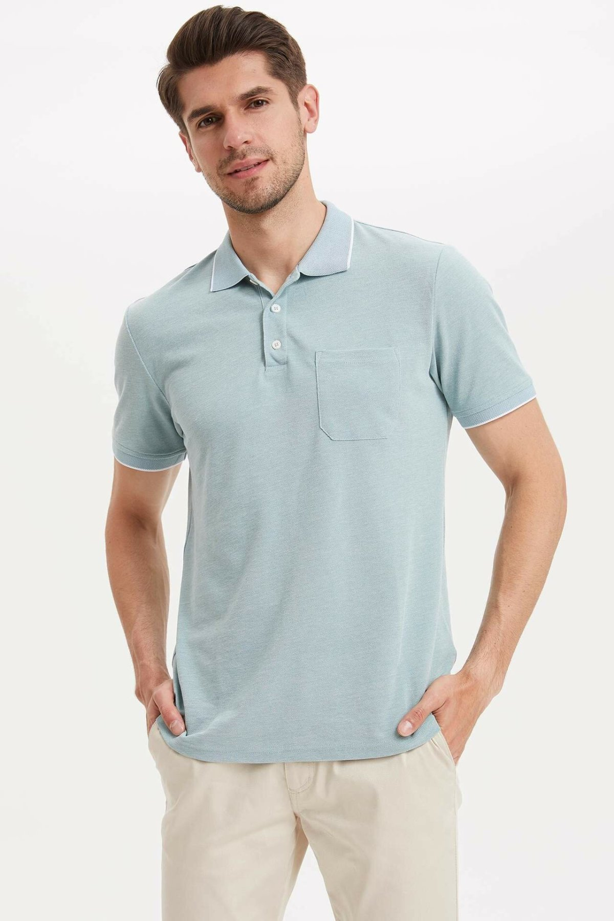 DeFacto Fashion Summer Simple Pure Color Leisure Mens Short-Sleeved Polos Shirts Male Casual Lapel Polos New-L4969AZ19SM