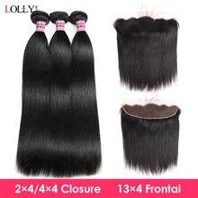 Lolly peruano straigth feixes de cabelo com fechamento 2x4 parte do meio do cabelo humano fechamento do laço com pacotes 3pcs pacotes de cabelo remy
