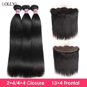 Peruvian Straight Human Hair Bundles With Closure Hair Bundles with Frontal Lace Closure With Bundles Non-Remy for Black Women image
