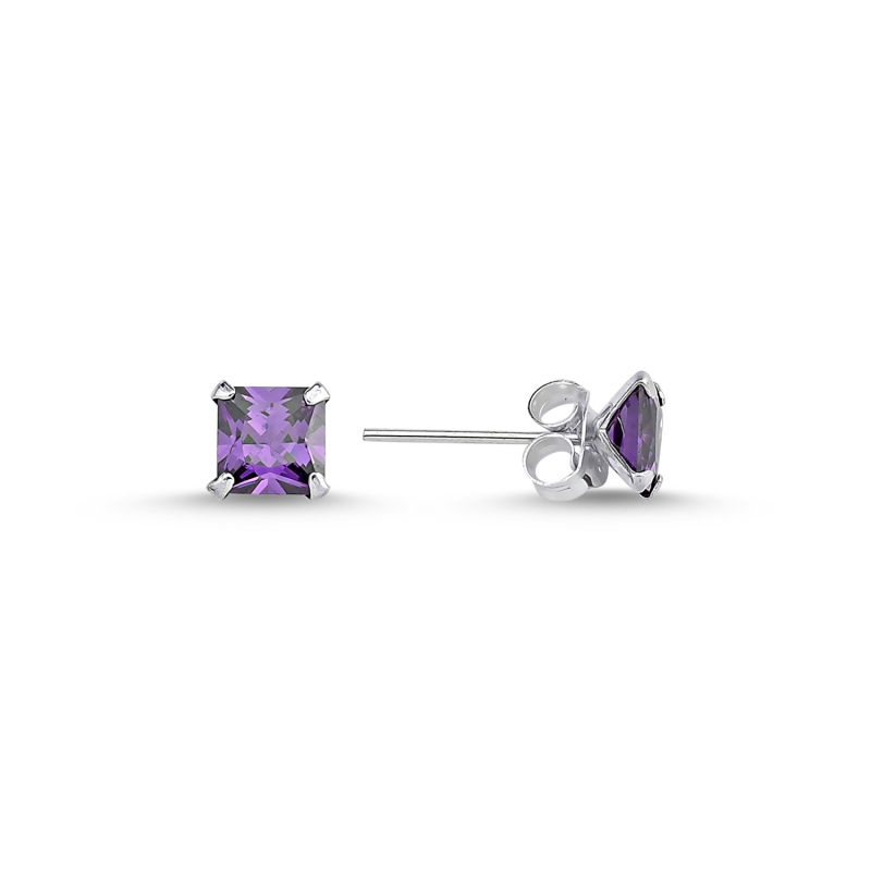 Armagano 5mm Square Amethyst Zircon Solitaire Earring 925 Sterling Silver