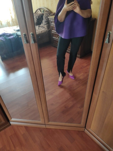 Black Elegant High Waist Skinny Pants Women Autumn Elastic Waist Crop Trousers Office Ladies Split Hem Pants photo review