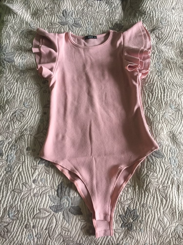 Layered Ruffle Detail Textured Bodysuit Summer Round Neck Ruffle Bodysuit Clothing Women Pink Solid Casual Bodysuit photo review