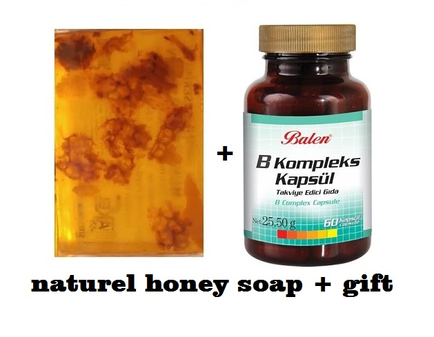 (gift Items)HANDMADE NATURAL HONEY SOAP 100gr+Gift Food Supplement Health B Complex B2 B3 B5 B6 B7 B12
