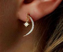 Звезды и луна серьги для женщин талисманы звезда обруч нержавеющая