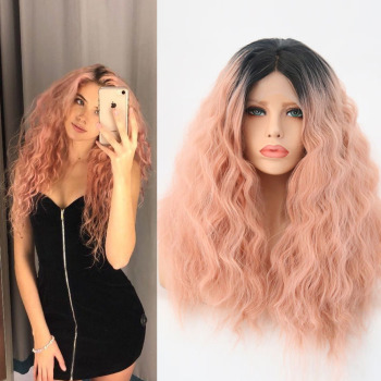 Charisma Ombre Pink Curly Wigs For Black Women Cosplay Show Or Daily Use High Temperature Heat Fiber Synthetic Lace Front Wig