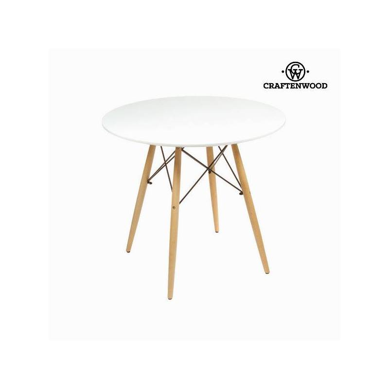 Table Mdf Beech Wood White (80x80x75 Cm) By Craftenwood