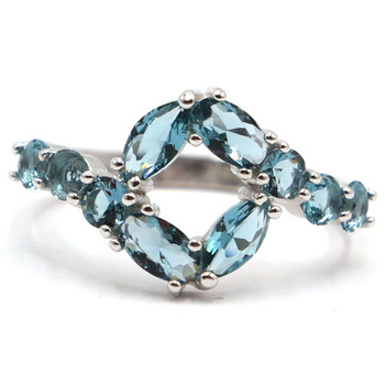 22x12mm SheType 2.2g Created London Blue Topaz Gift For Ladies Real 925 Solid Sterling Silver Ring