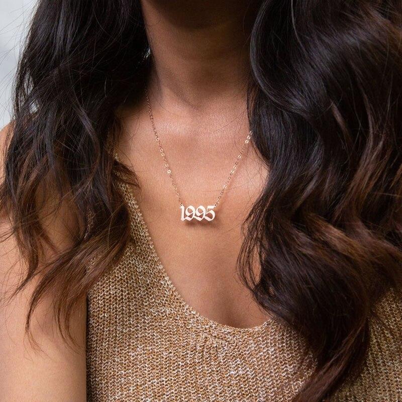 Пользовательское имя или номер Цепочки и ожерелья Для женщин дату рождения года ювелирные изделия bff кольца дружбы Подарочные Кольца 1996 1997 ...
