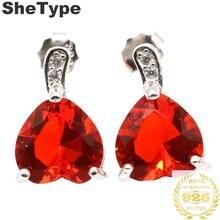 13x8mm 2019 New Arrival 1.7g Heart Shape Orange Spessartine Garnet CZ Gift For Girls 925 Solid Sterling Silver Stud Earrings