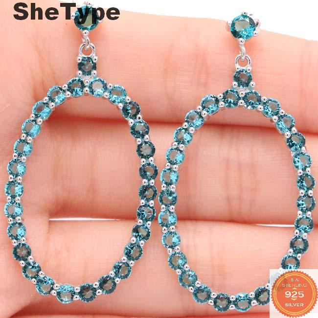 47x24mm SheType 6.01g Stunning Created Rich Blue Aquamarine Amethyst Gift For Woman's Real 925 Solid Sterling Silver Earrings