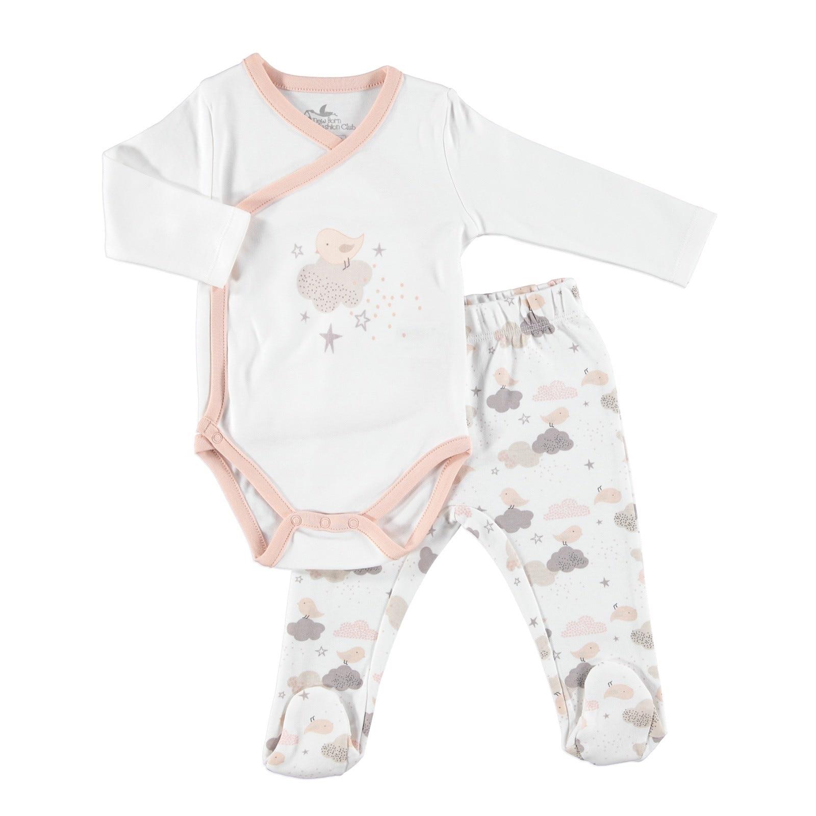 Ebebek Newborn Fashion Club Fun Winter Baby Bodysuits Footed Pants