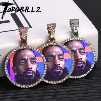 Custom Photo Memory Medallions Solid Pendant Necklace With Tennis Chain Hip Hop Jewelry Personalized Cubic Zircon Chains Gift 1