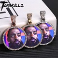 Custom Foto Memory Medaillons Solide Anhänger Halskette Mit Tennis Kette Hip Hop Schmuck Personalisierte Cubic Zirkon Ketten Geschenk