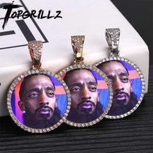 Medallones de memoria personalizados, colgante macizo con cadena de tenis, joyería de Hip Hop, cadenas de circonia cúbica personalizada, regalo