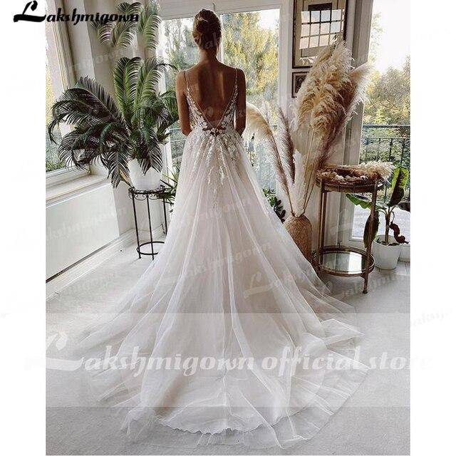 Robe Vintage Beach Wedding Dresses 2021 Tulle Long Lace Beach Bridal Gown A-Line Court Train vestido de noiva Lakshmigown 3