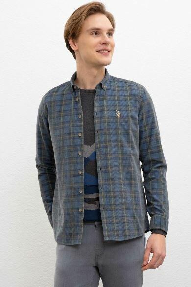 U.S. POLO ASSN. Gray Plaid Regular Shirt
