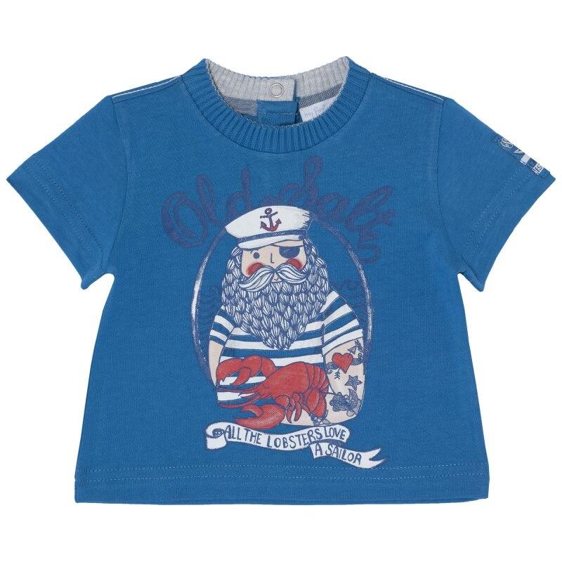 T-shirt Chicco, size 086, print pirate (blue) plus size letter print striped t shirt