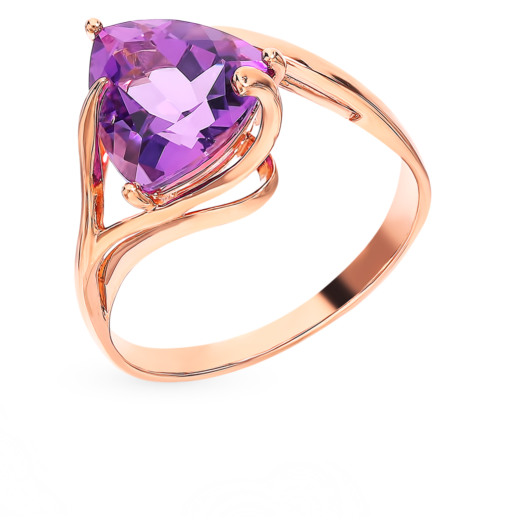 Gold Ring With Amethyst SUNLIGHT Test 585