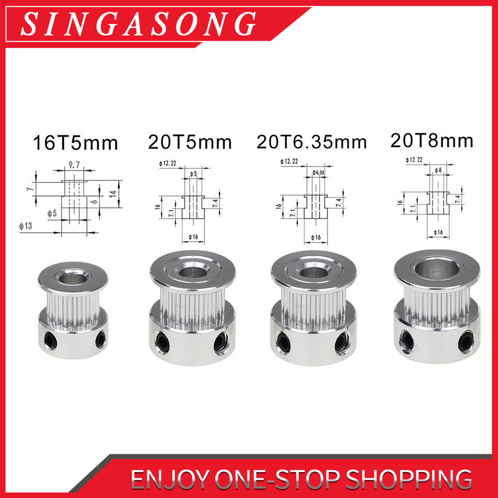 GT2 20Teeth 16 teeth 20 Teeth Bore 5mm/8mm Timing Alumium Pulley Fit for GT2-6mm Open Timing Belt for 3D Printer.