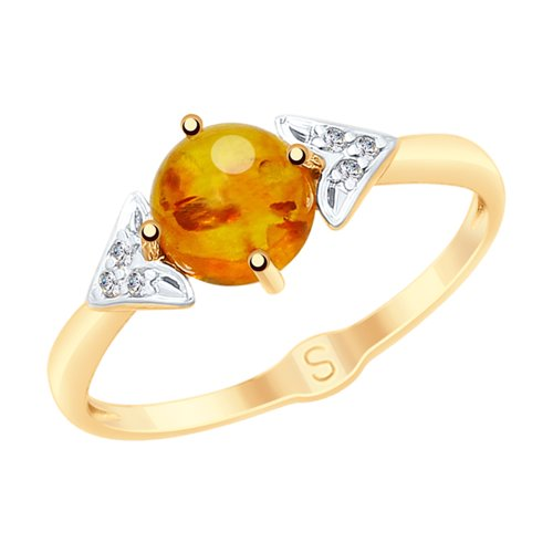 SOKOLOV Ring Gold With Amber And Cubic Zirkonia