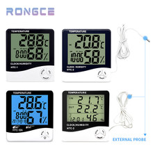 Temperature And Humidity Sensor Electronic Thermometer HTC-2 With Wall Table Clock For Home HTC-1 Temperature Meter