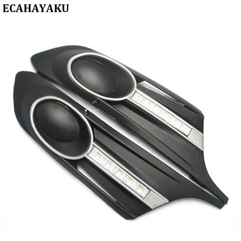 ECAHAYAKU Fog Lamp for Volkswagen Sagitar 2012 2013 2014 Car Styling Driving LED DRL Daytime Running Light Daylight